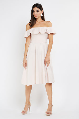 Vestido midi off shoulder