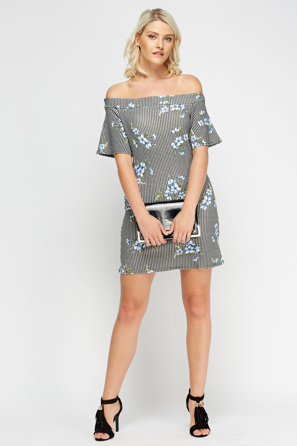 Vestido estampado off shoulder - MiTiendaSecreta