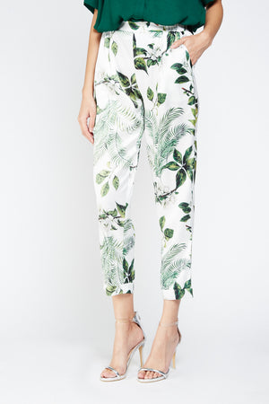 Pantalón satinado estampado tropical