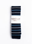 blue and white striped pattern knit tie - Oxford Square