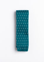 blue and white polka dot pattern knit tie - Oxford Square