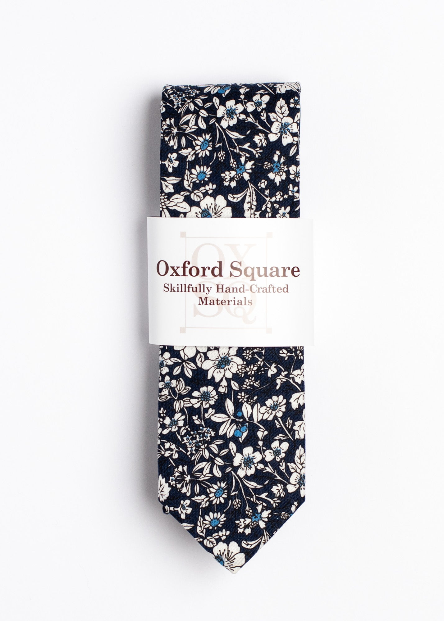 blue and white floral tie - Oxford Square