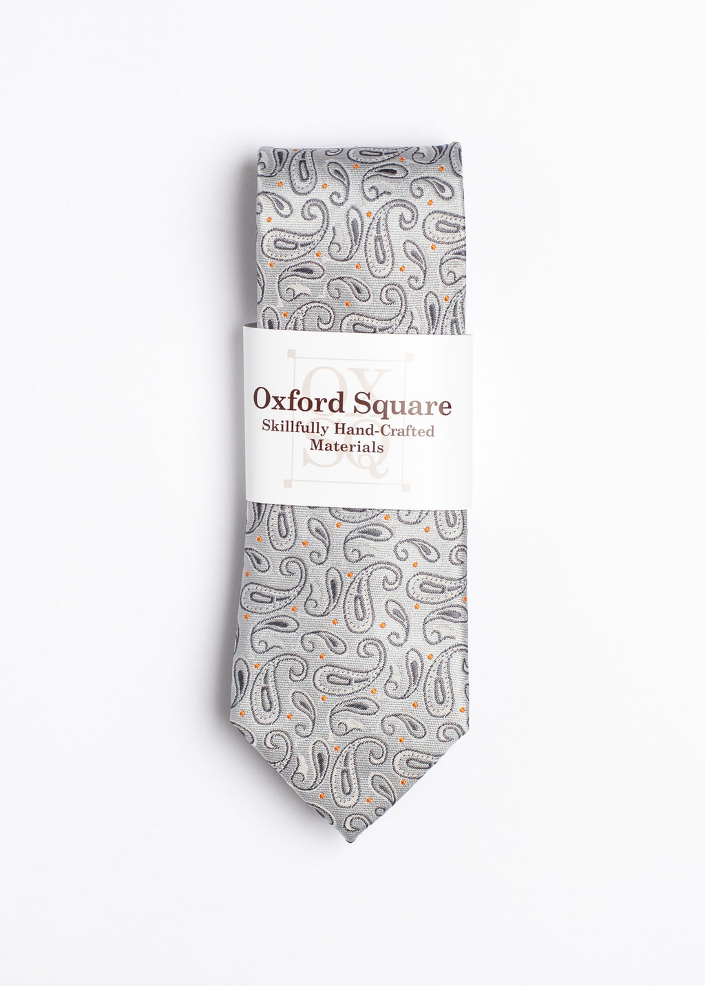 Gray and Orange handmade paisley tie- Oxford Square