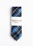 Handmade Blue, white and black plaid Tie - Oxford Square