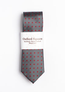 gray and red polka dot pattern tie - Oxford Square