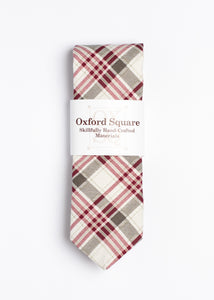 gray red and white plaid pattern tie - Oxford Square