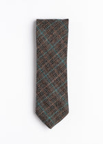 brown and blue plaid pattern tie - Oxford Square