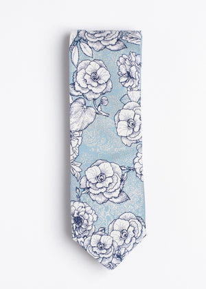 Blue and white floral pattern tie - Oxford Square