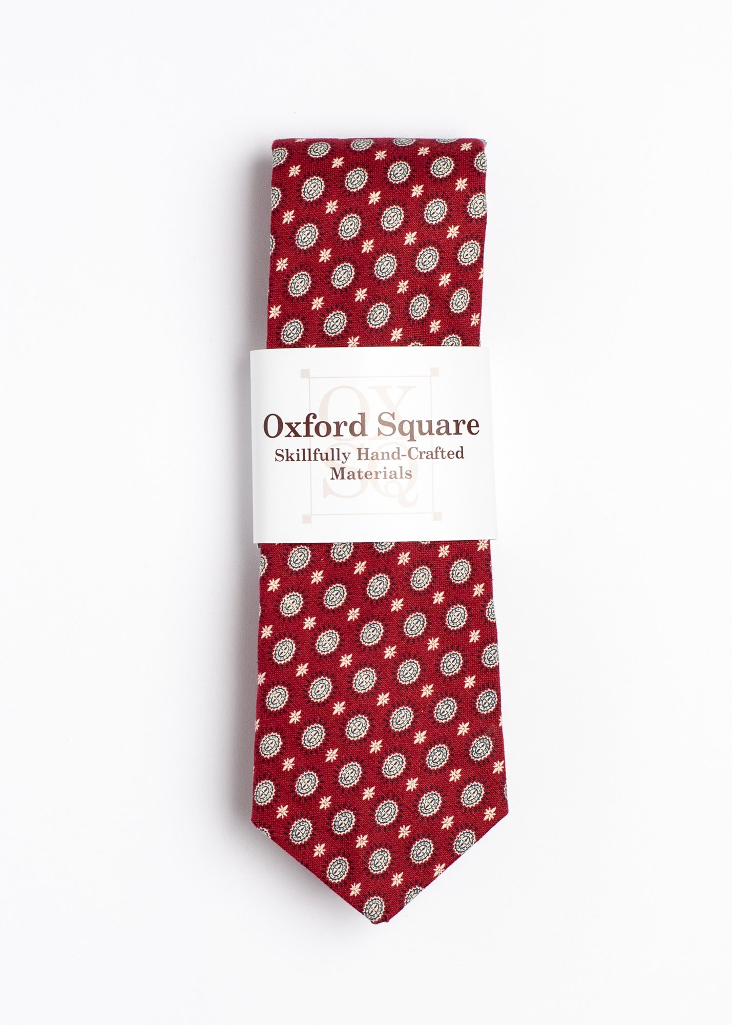 Red Foulard Pattern Tie - Oxford Square