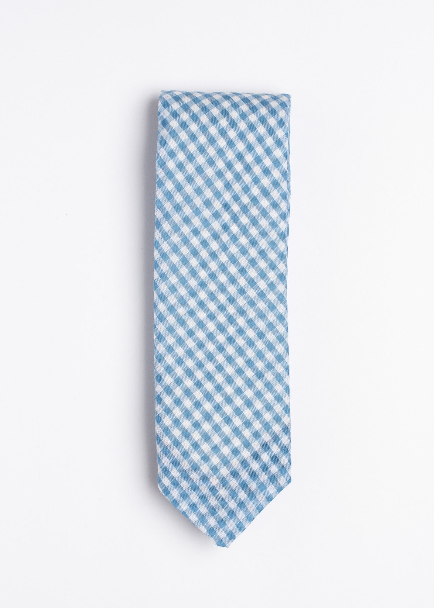 Blue and white gingham tie - Oxford Square