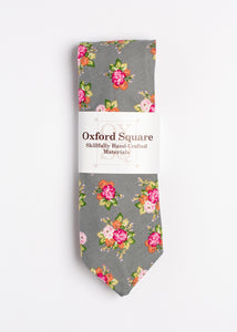 gray and pink floral pattern tie - Oxford Square