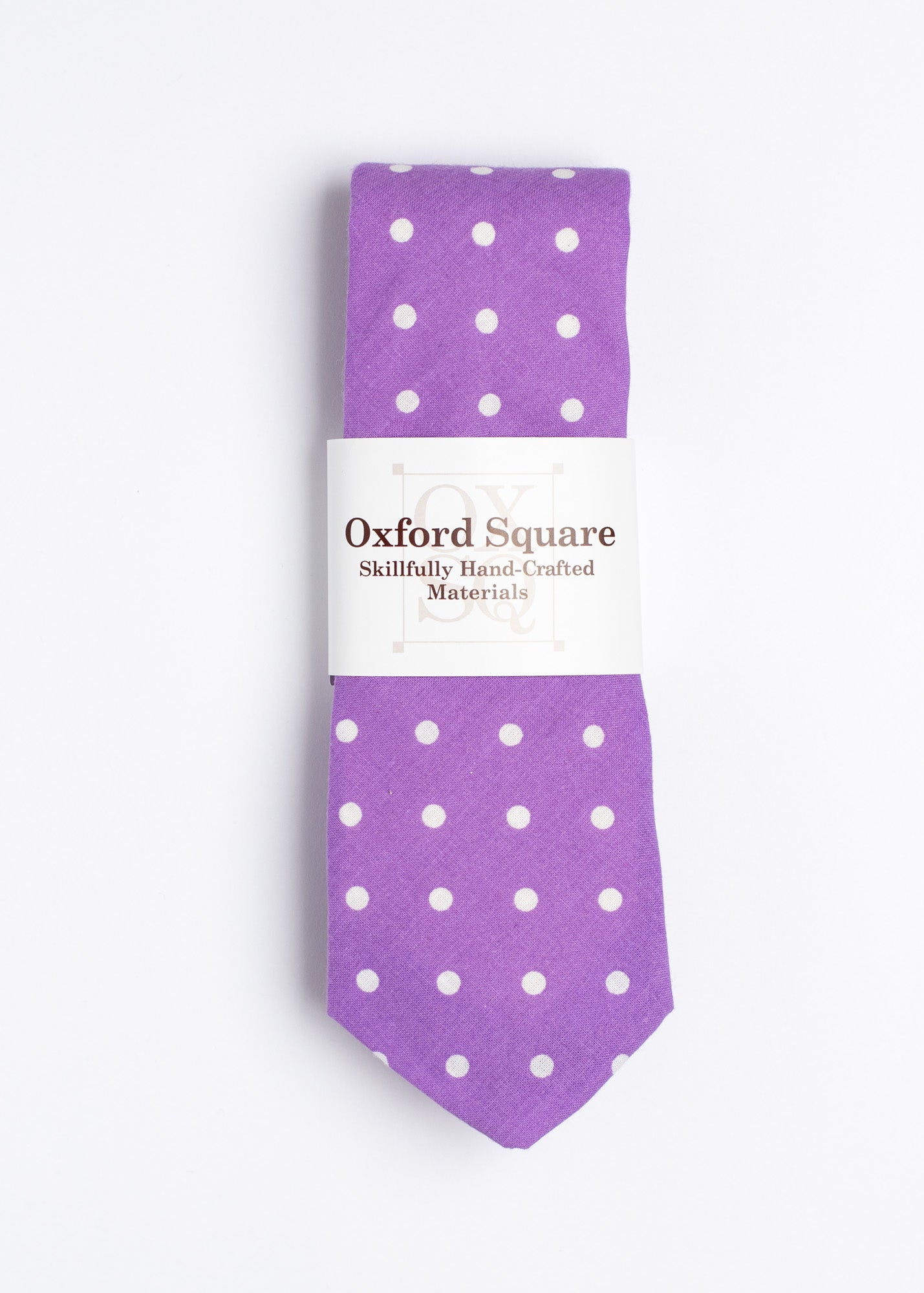 purple and white polka dot pattern tie - Oxford Square