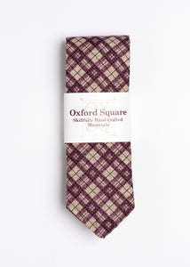 purple and gray plaid pattern tie - Oxford Square