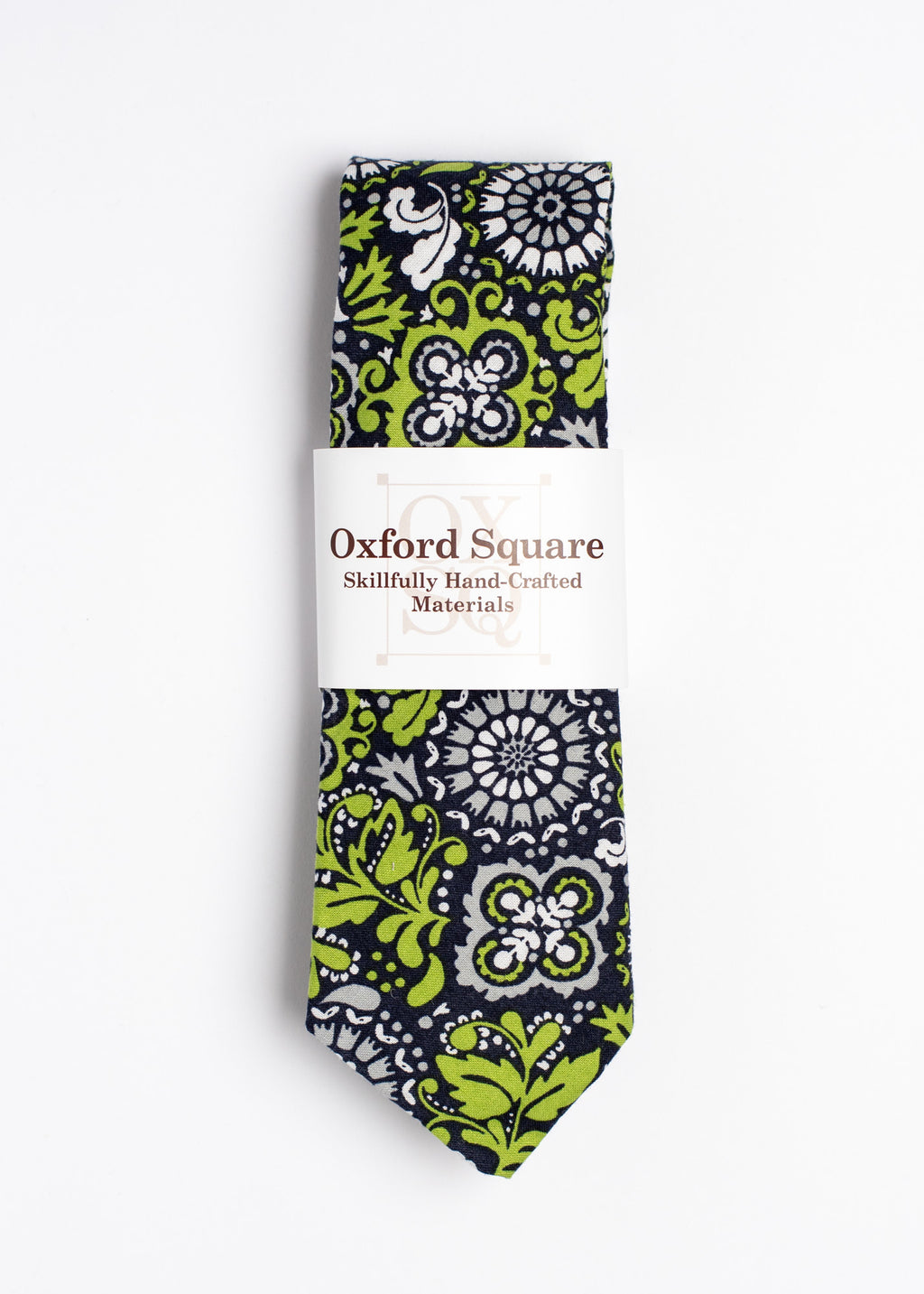 Green, blue and gray floral pattern tie - Oxford Square