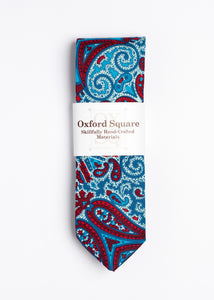 red and blue paisley pattern tie - Oxford Square