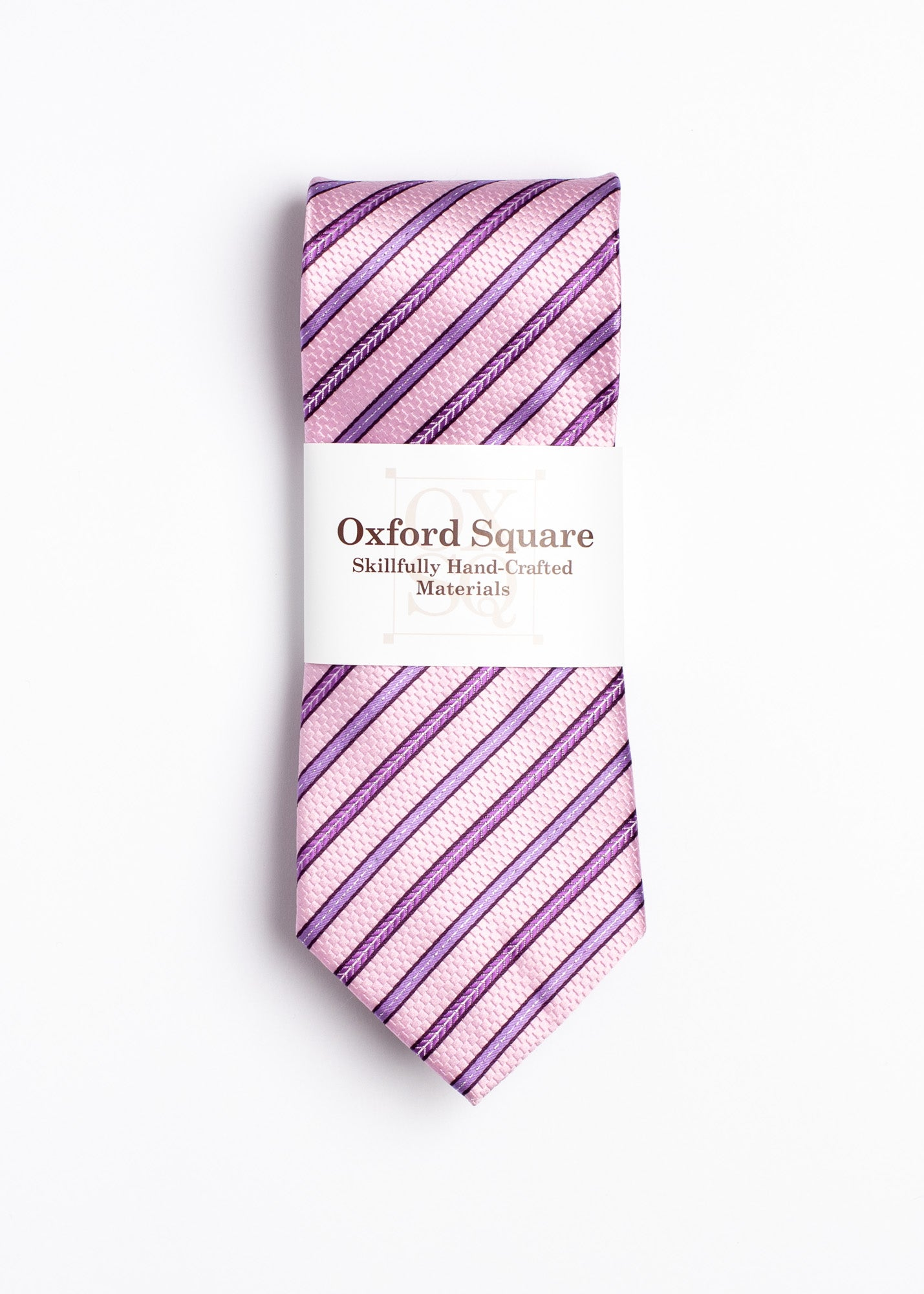 pink and purple striped pattern tie - Oxford Square