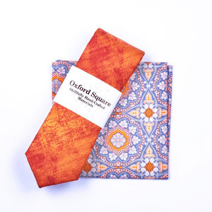 blue and orange medallion pattern pocket square and orange tie - Oxford Square