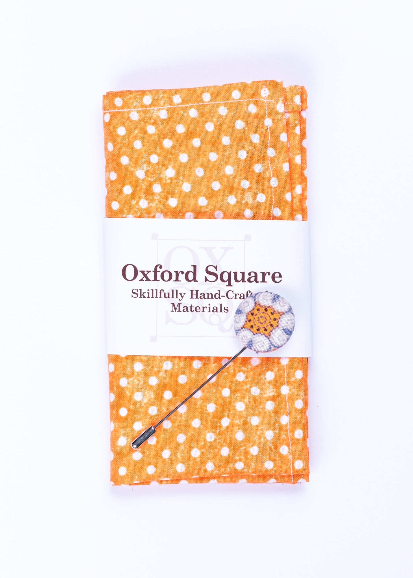 orange polka dot pattern pocket square and lapel pin pack - Oxford Square