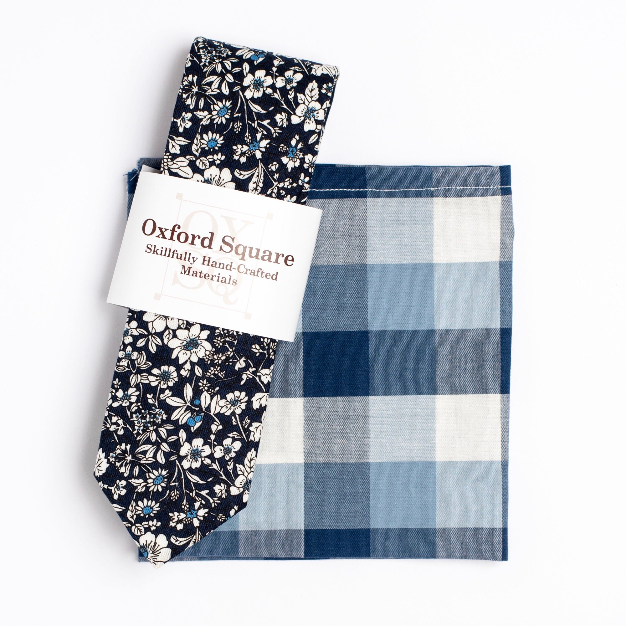 blue and white gingham pocket square and floral tie pack - Oxford Square