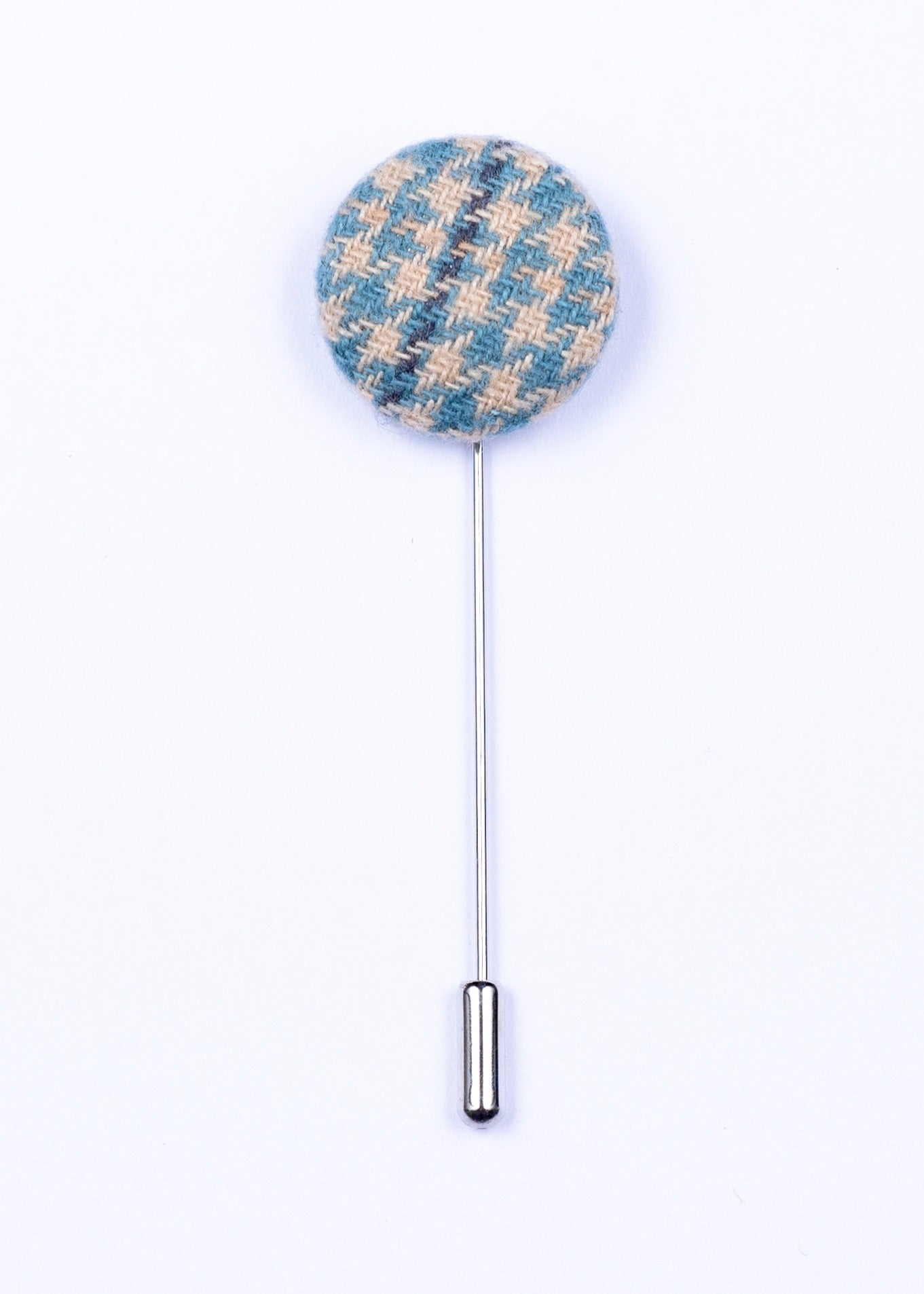 blue and tan button lapel pin - Oxford Square