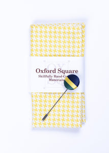 yellow houndstooth pocket square and lapel pin pack - Oxford Square