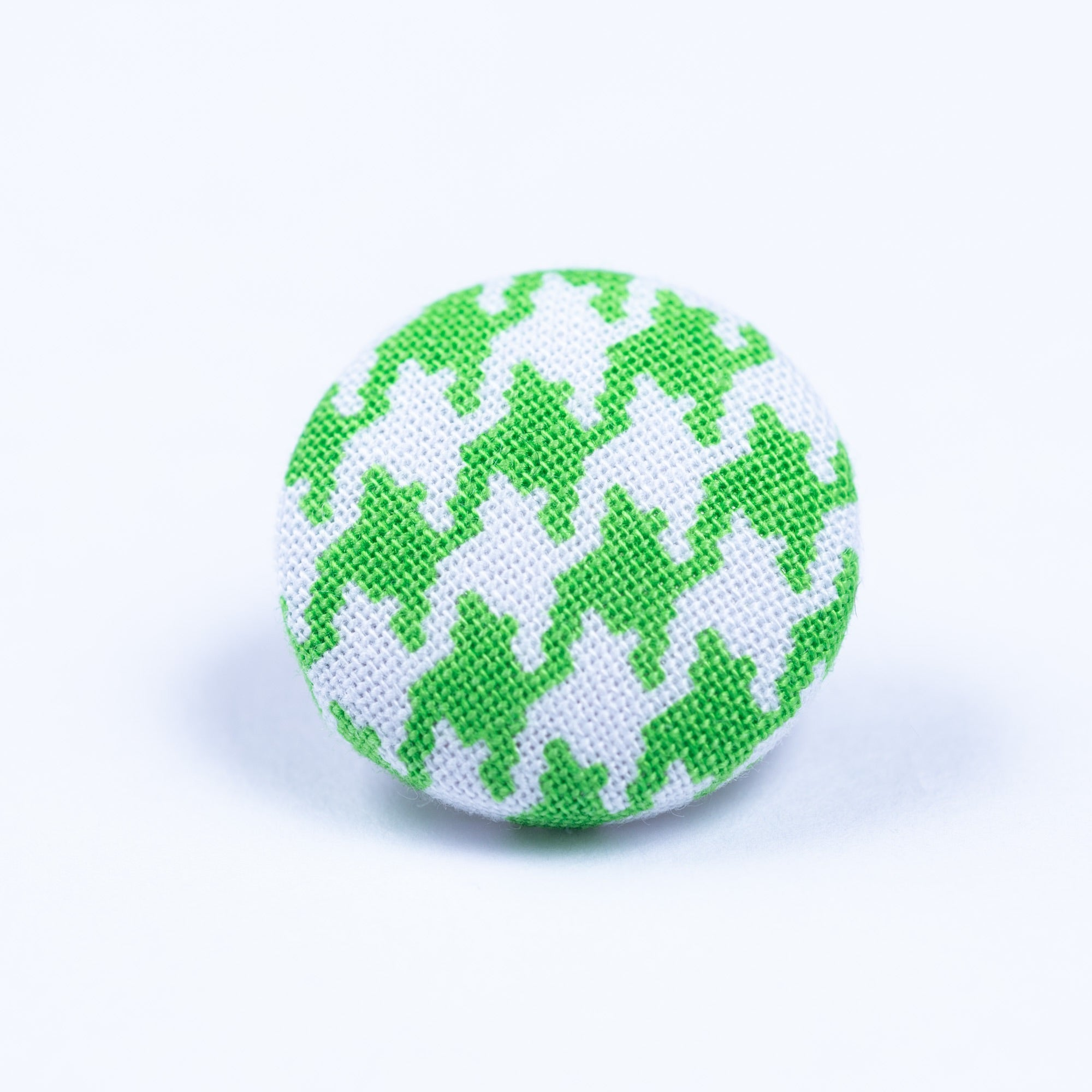 green and white button lapel pin - Oxford Square