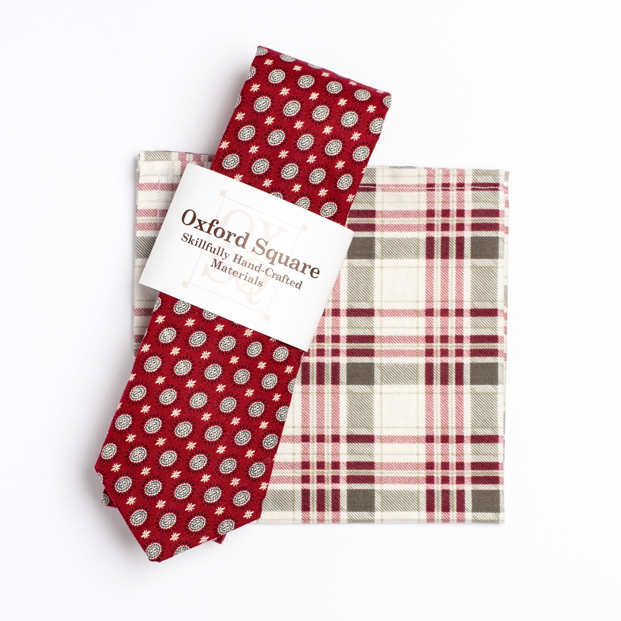 red and grey plaid pattern pocket square and foulard pattern tie pack - Oxford Square