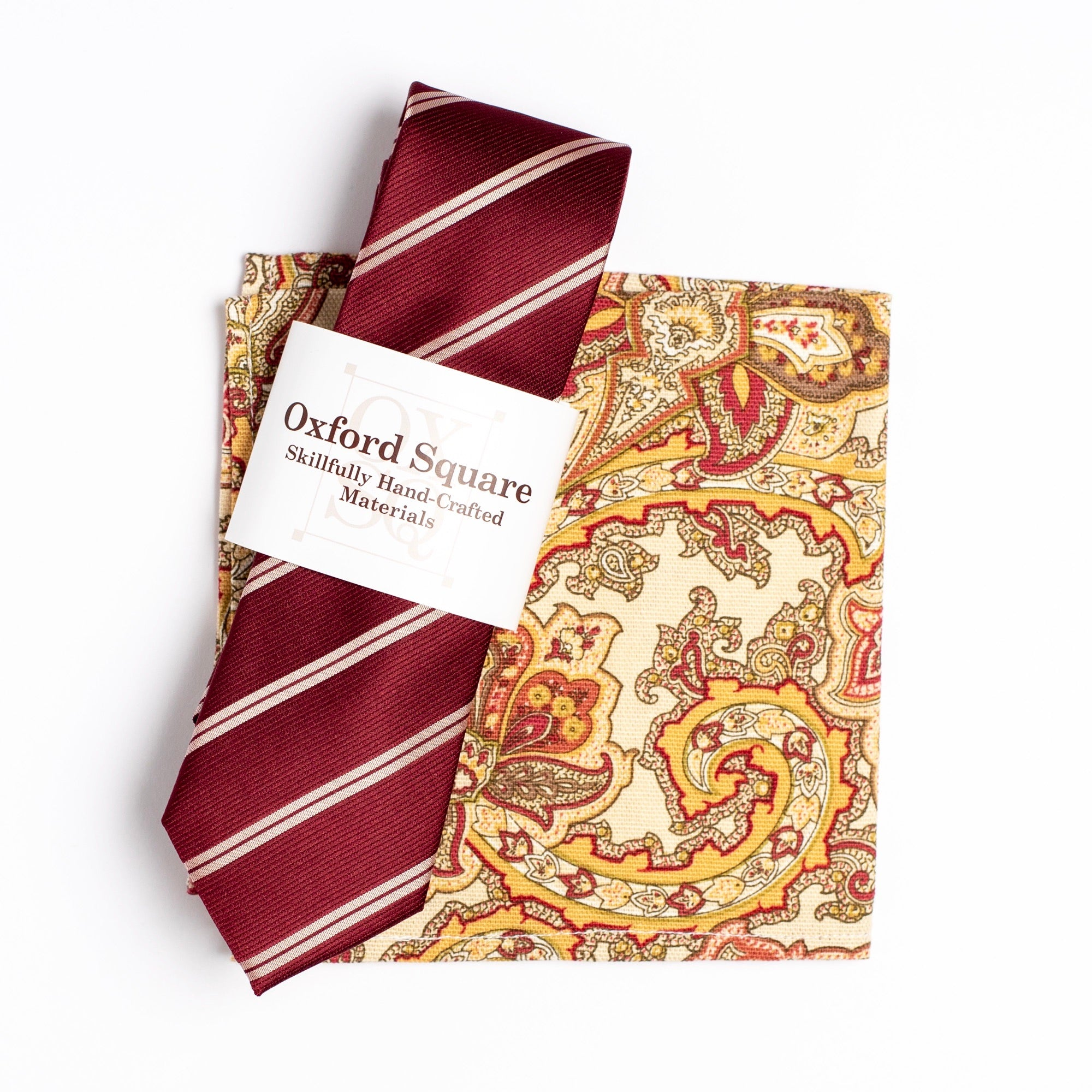 tan and red paisley pattern pocket square and red and white striped tie pack - Oxford Square
