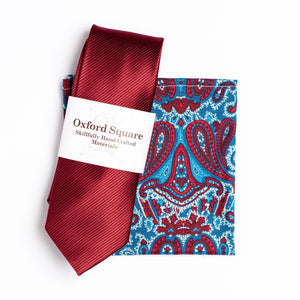 red and blue paisley pattern pocket square and red tie pack - Oxford Square
