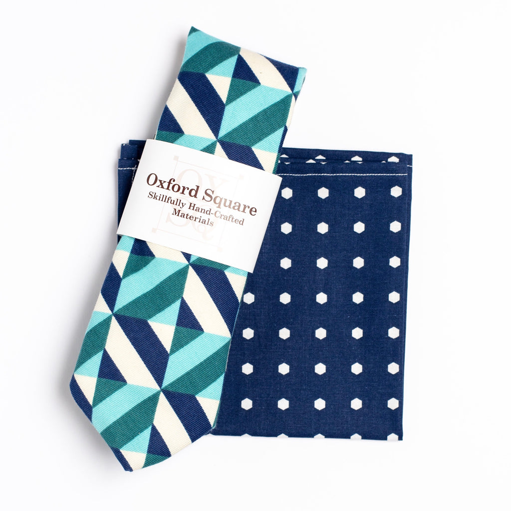 blue and white polka dot pattern pocket square and striped tie pack - Oxford Square