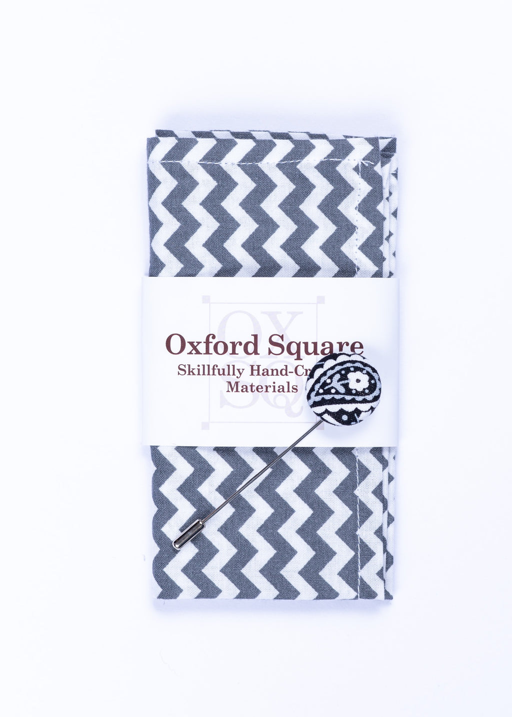 chevron pattern pocket square and lapel pin pack - Oxford Square