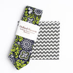 Chevron pattern pocket square and floral tie - Oxford Square