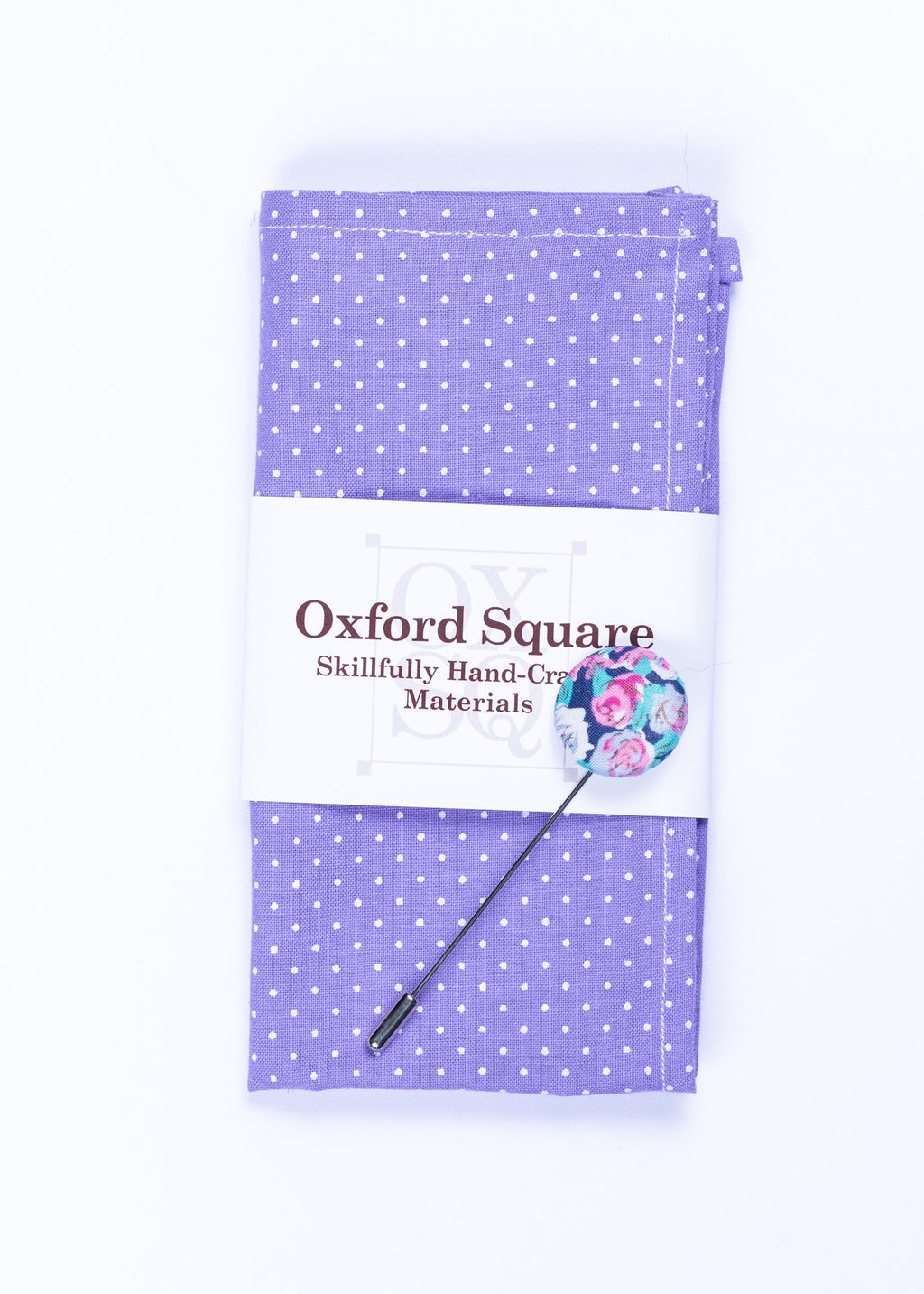purple polka dot pocket square and lapel pin pack - Oxford Square