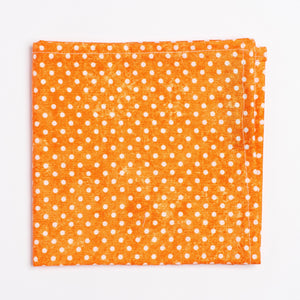 orange and white polka dot pattern pocket square - Oxford Square