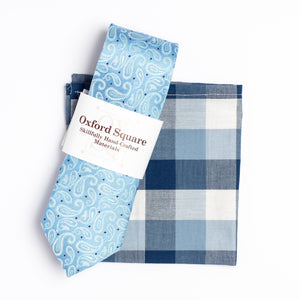 blue and white gingham pocket square and blue paisley tie pack - Oxford Square
