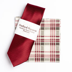 red and grey plaid pocket square and red tie pack - Oxford Square