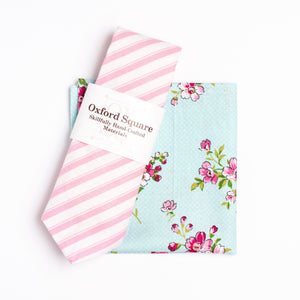 pink and white striped tie and floral pattern pocket square pack - Oxford Square