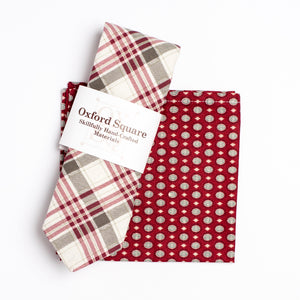 red and white foulard pattern pocket square and plaid pattern tie pack - Oxford Square