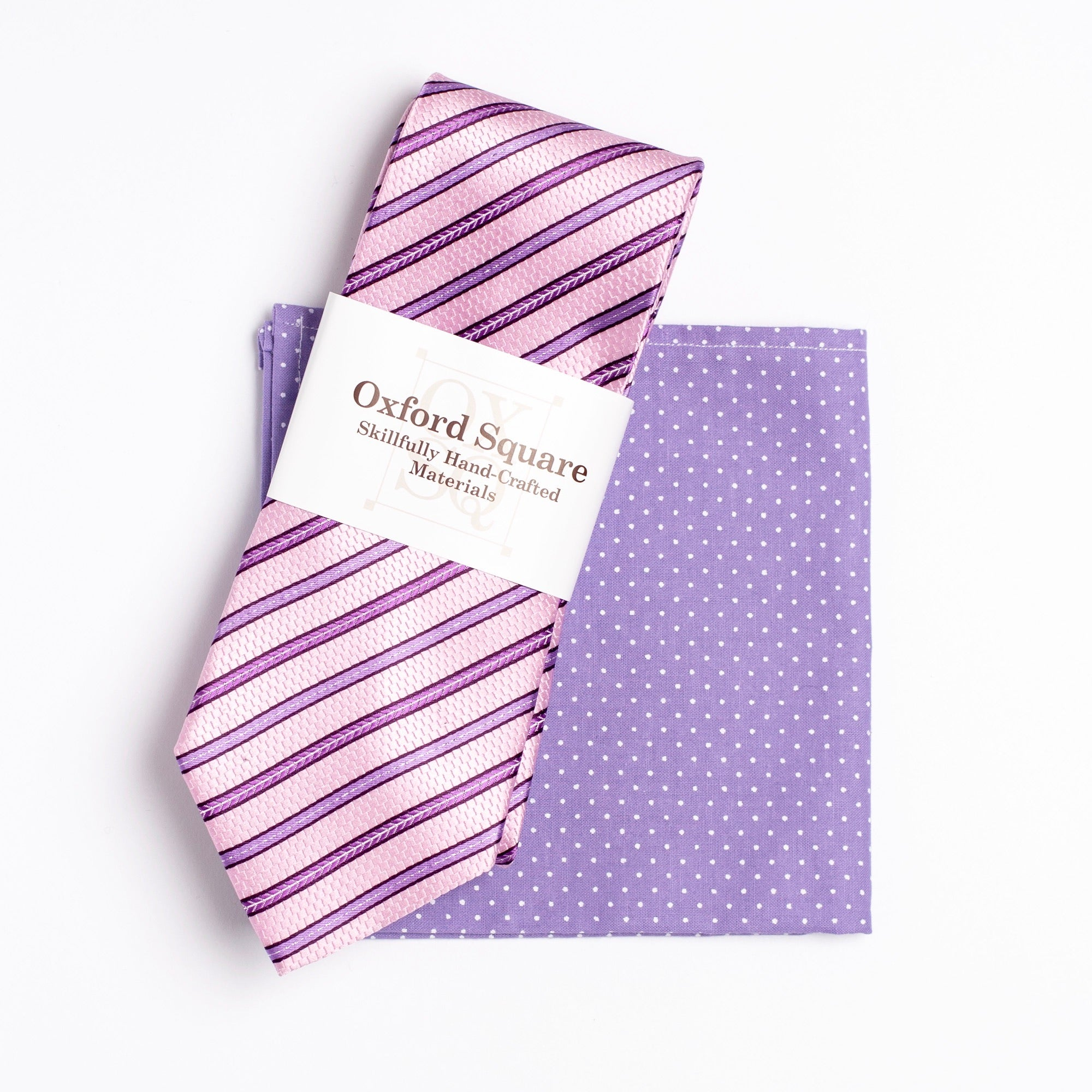 purple and white polka dot pattern pocket square and pink striped tie pack - Oxford Square
