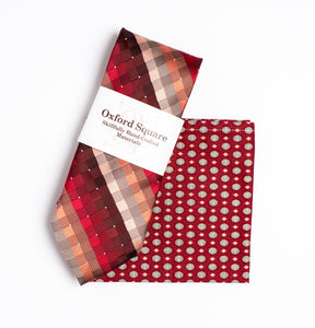 red and white foulard pattern pocket square and red striped tie pack - Oxford Square