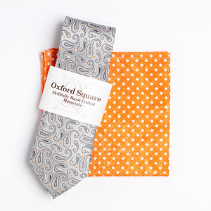orange and white polka dot pocket square and gray paisley tie pack - Oxford Square