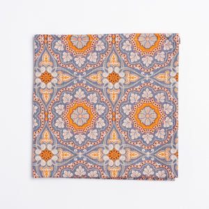 blue and orange medallion pattern pocket square - Oxford Square