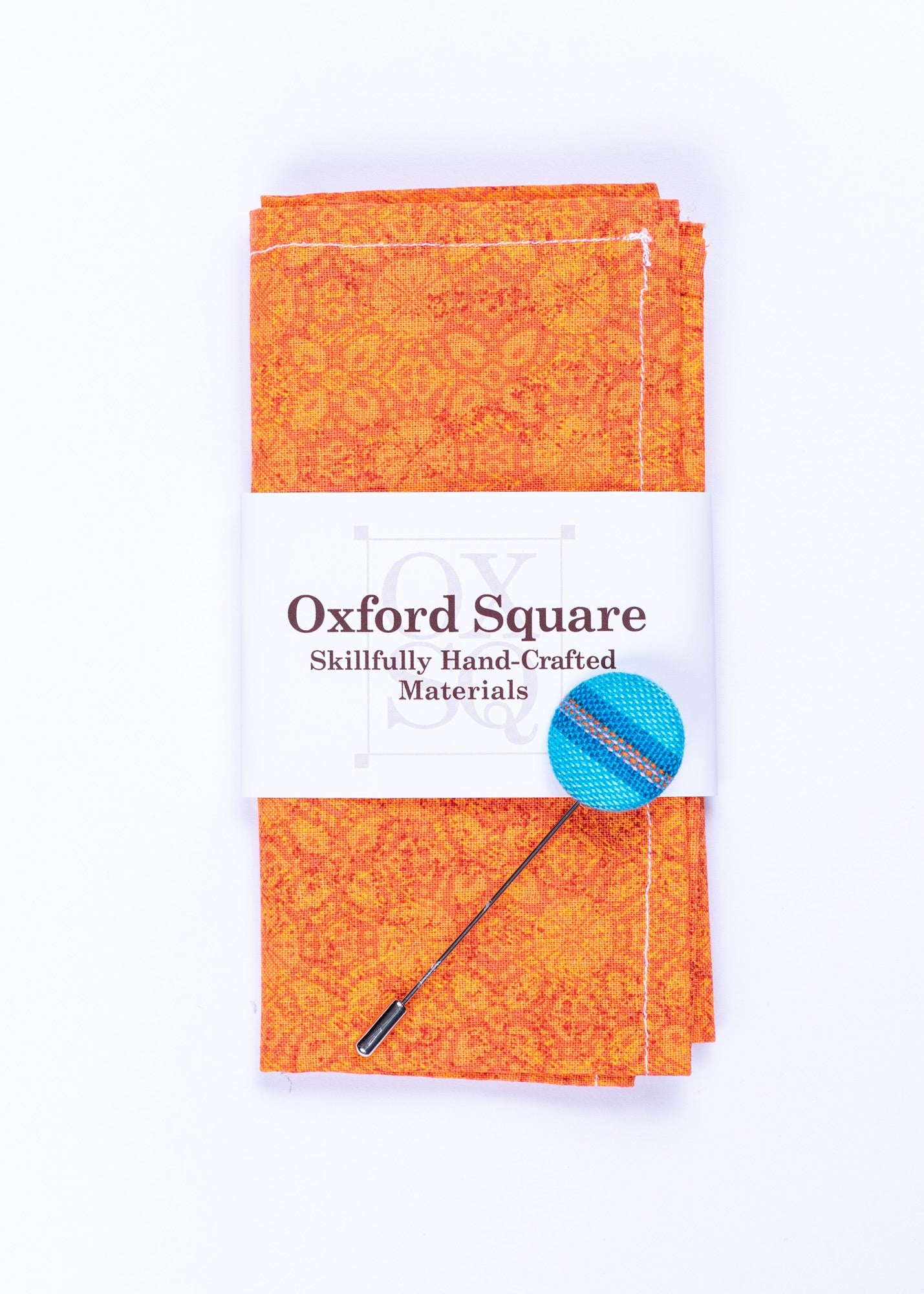 floral orange pocket square and lapel pin pack - Oxford Square
