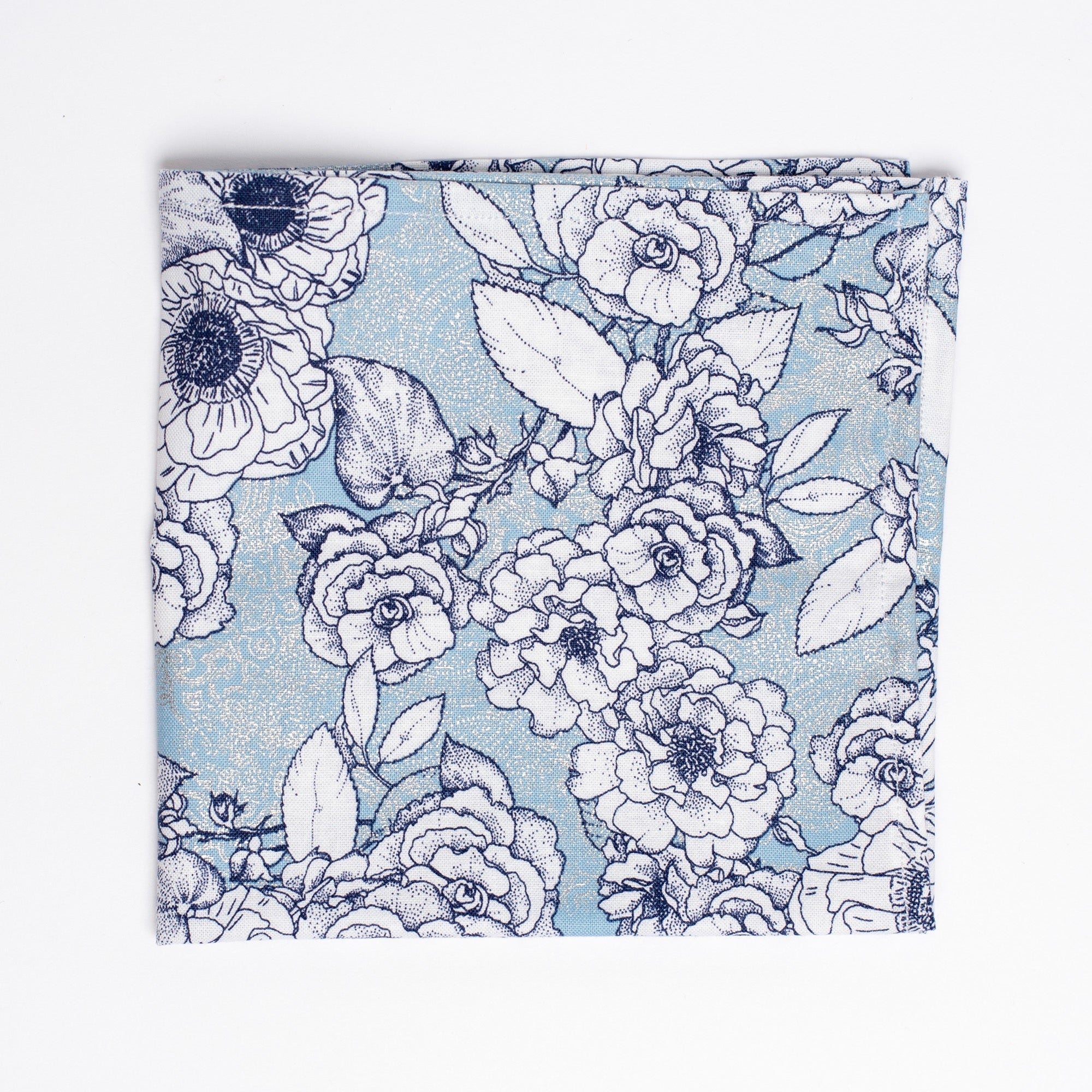 "blue and white floral pattern pocket square - The ""Pocket Full of Polka"" Lapel Pin and Square Pack - Oxford Square"
