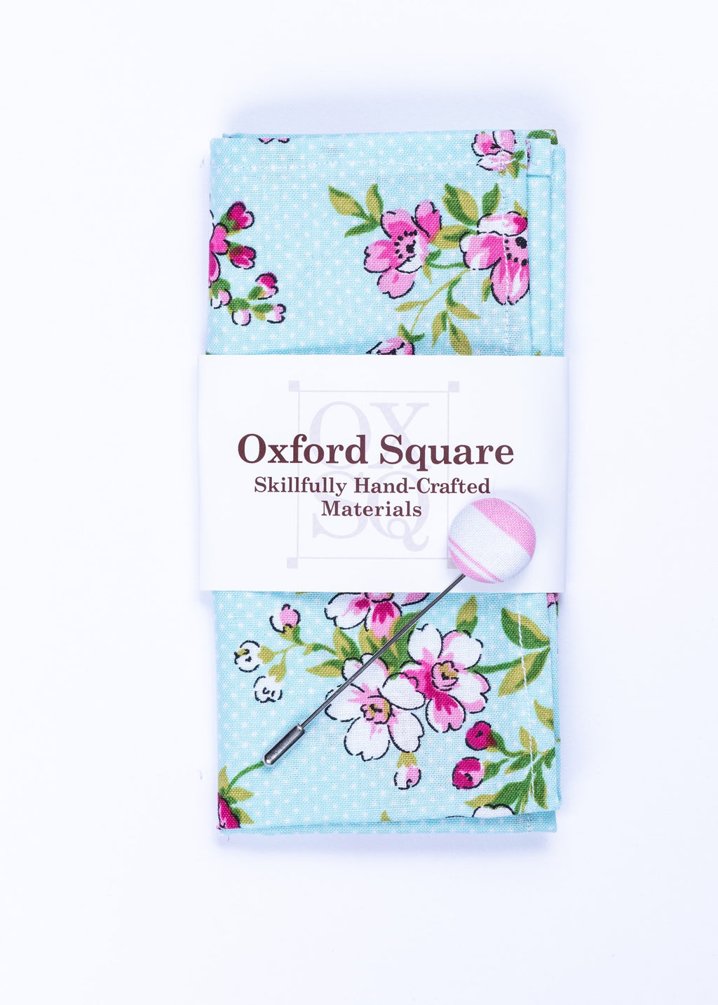 blue floral pattern pocket square and lapel pin pack - Oxford Square