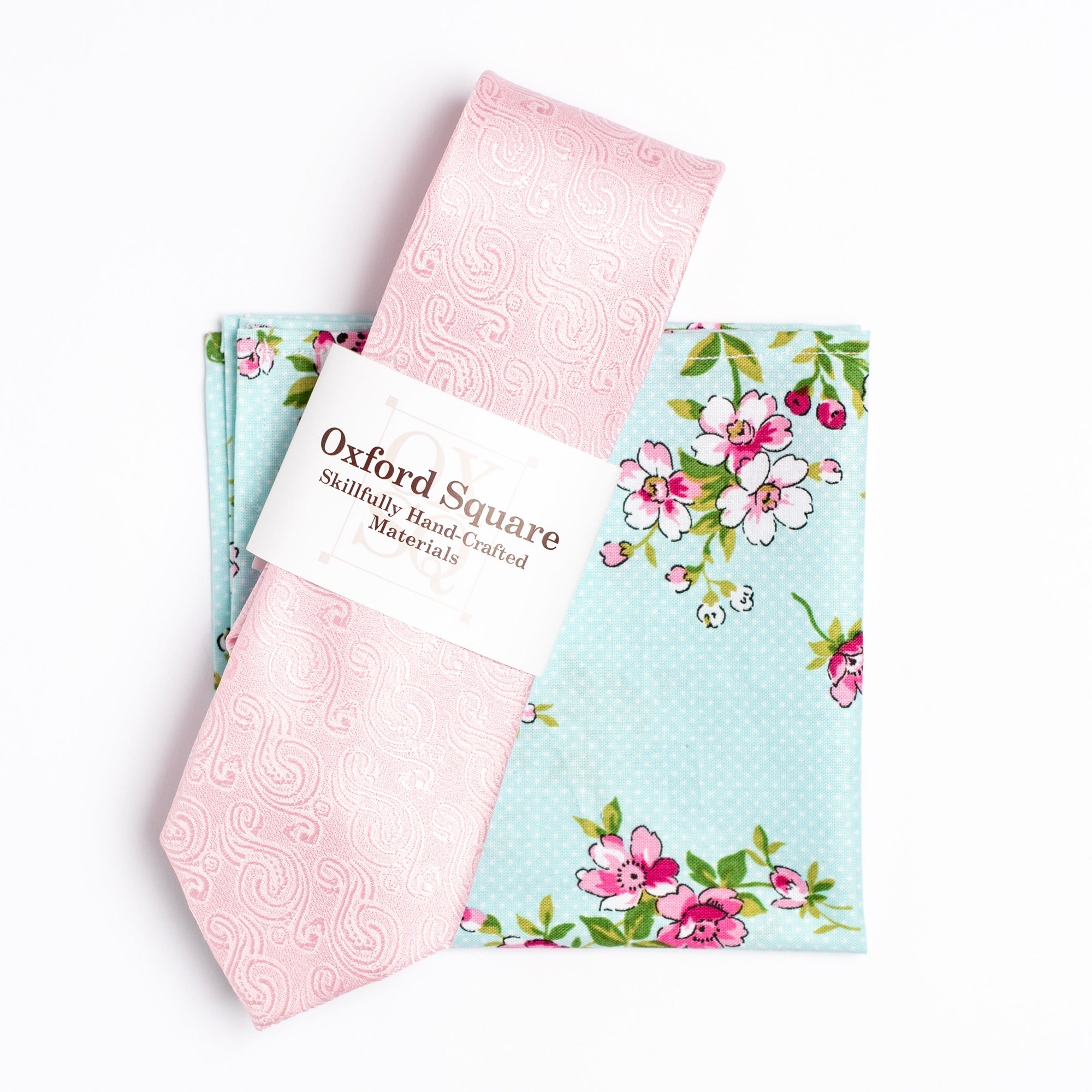 blue and pink floral pocket square and pink paisley tie pack - Oxford Square