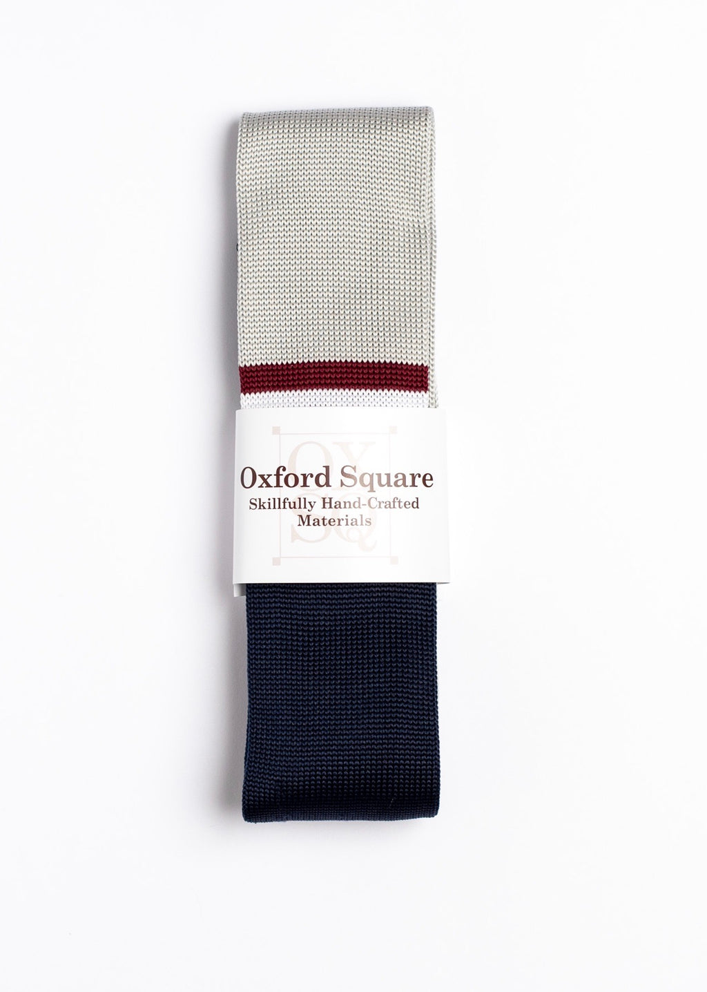 Gray, red and blue striped Knit Tie - Oxford Square
