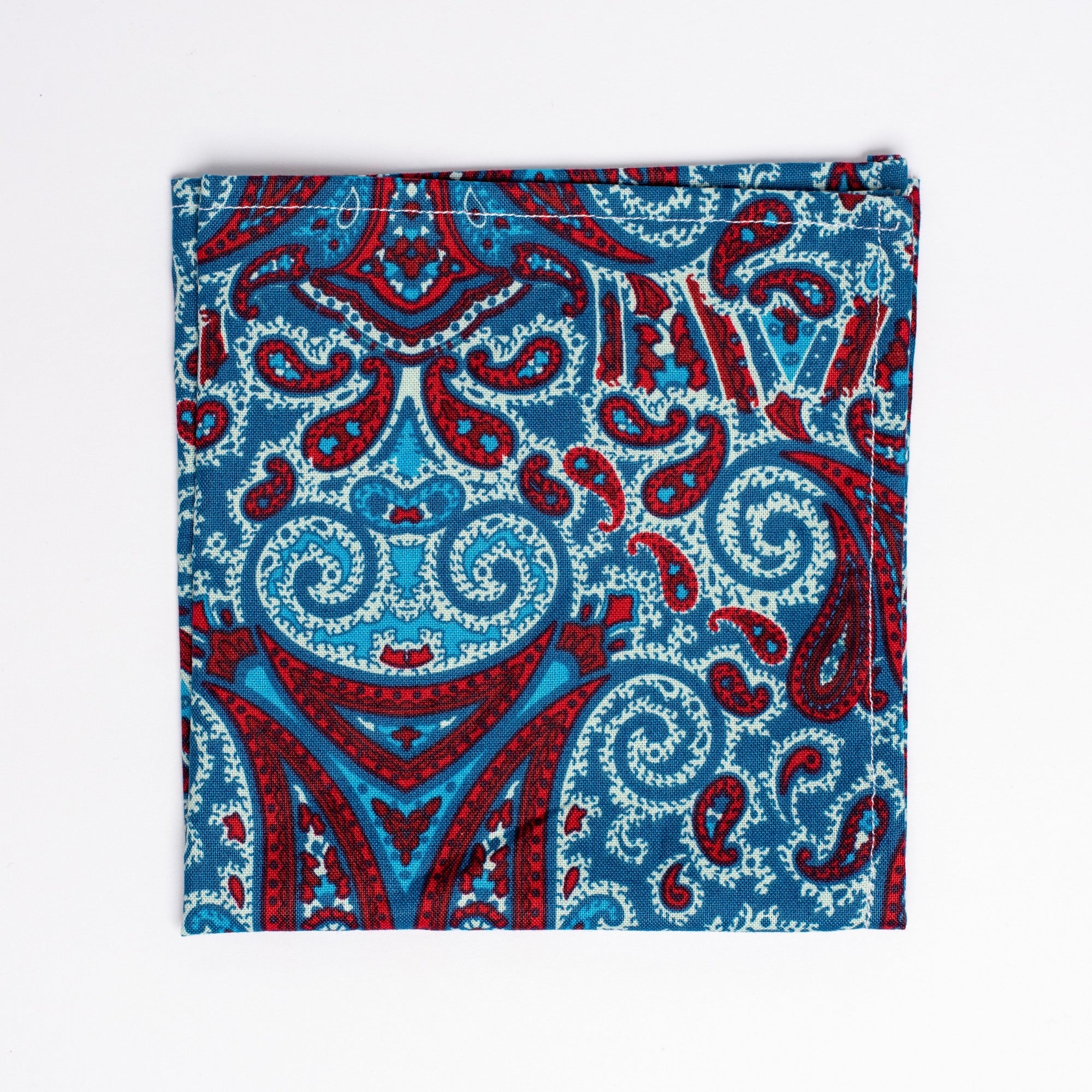 red and blue paisley pattern pocket square - Oxford Square