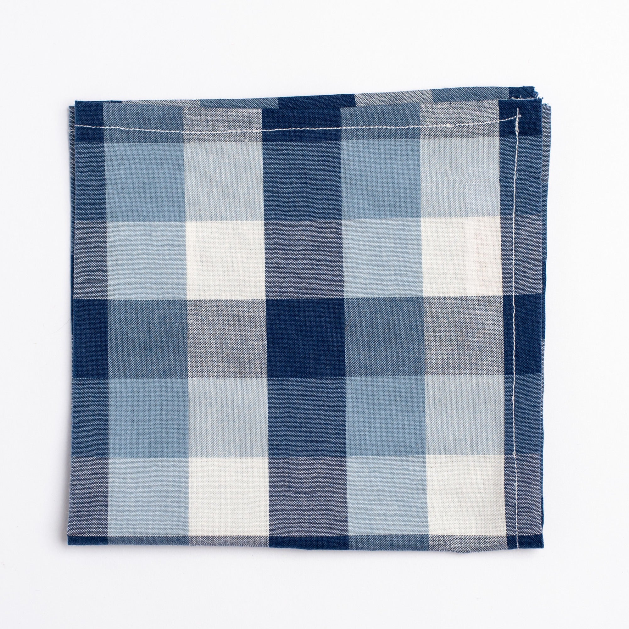 blue and white gingham pattern pocket square - Oxford Square