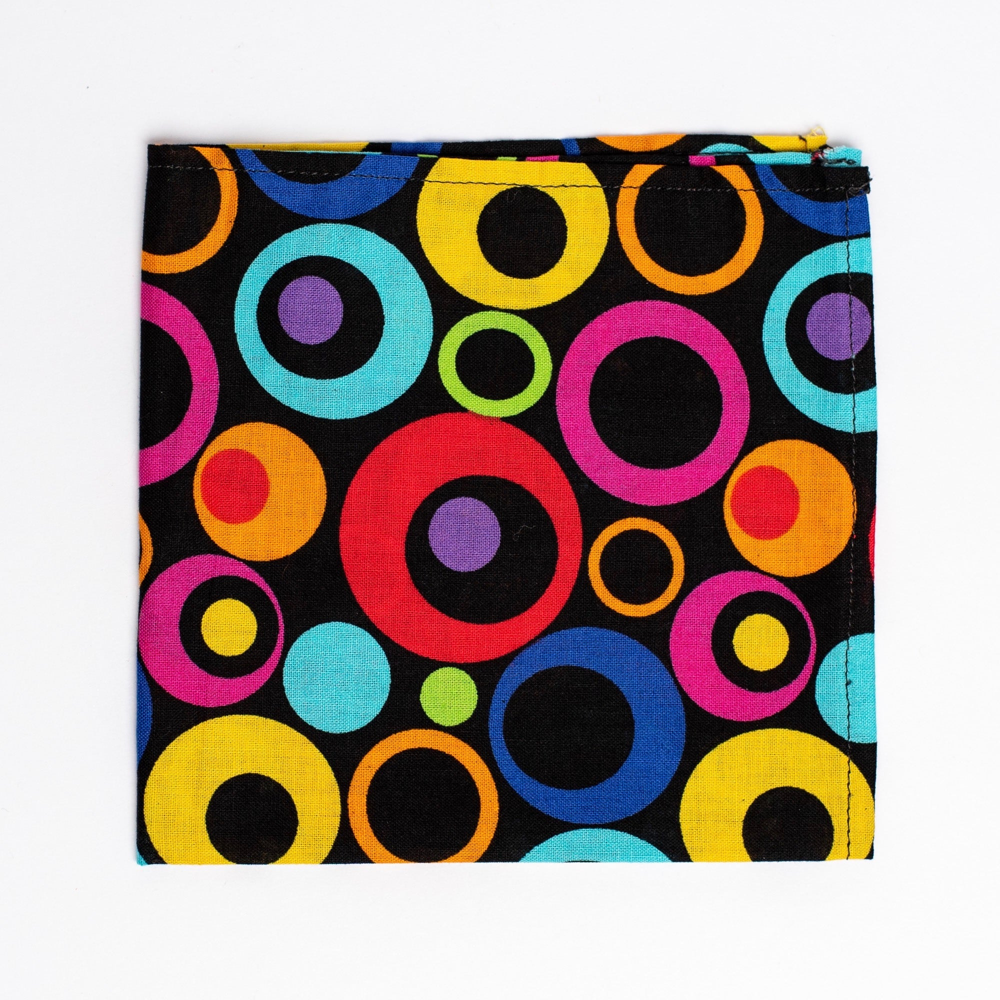 Black, red, blue, yellow, orange, green and purple geometric pattern pocket square - Oxford Square